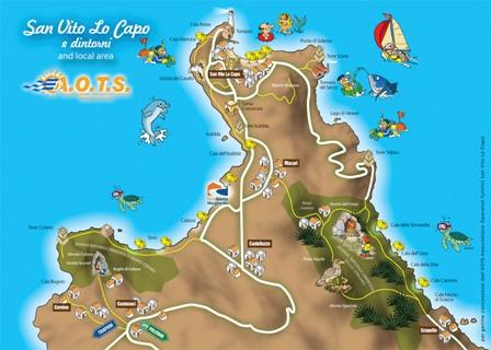 Sicilia Cartina San Vito Lo Capo.Sanvitolocaposicilia It La Piu Affidabile Guida Turistica On Line Mappa Delle Spiagge